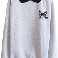 Cat Pattern Long Sleeve Sweatshirt with Contrast Collar and Cuff