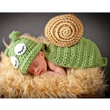 KLV Baby Snail Photography Prop Newborn Girls Boys Birthday Party Knit Costume Kit Photography Outfits Baby Clothing Baby's Sets