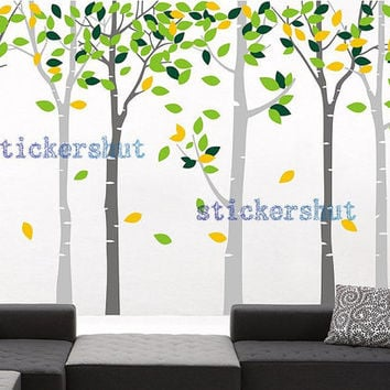 large birch tree decal birch trees vinyl wall decal  birch tree branch art  for Nursery wall stickers living room decor