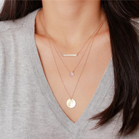 14k gold filled large disc necklace - 14k gold filled hand stamped round drop initial disk  - Personalized Jewelry