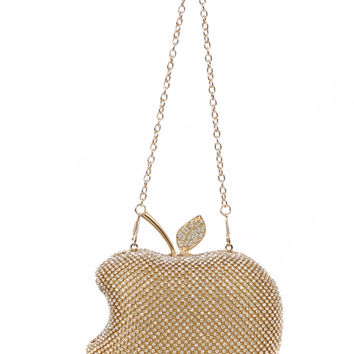 Apple Glam Rhinestone Embellished Clutch Handbag - Gold