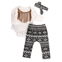 New baby boys and girls autumn clothes Cotton Tassels Romper+Geometric Pants +Headband Outfits Set