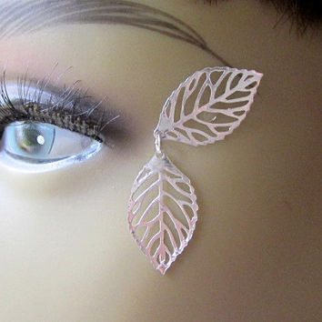 Silver Leaf 3D Tattoo Anime Cosplay Costume Jewelry Silver Eye Decal Fairy Sprite False Lashes Eye Jewelry Silver Shadow Halloween Makeup