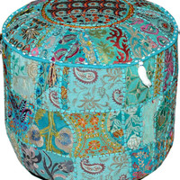 Blue Pouf Ottoman Cover, pouffe pouffes, Foot Stool, Indian Round Pouf Ottoman, Bean Bag, Floor Pillow Ottoman, Indian Pillow Poof Ottoman