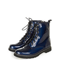 Teens Blue Patent Lace Up Boots