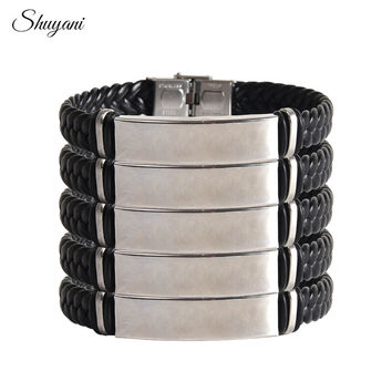 DIY Engrave Name Personalized Letter Stainless Steel Bracelet Lover Leather Woven Bracelets&Bangles Jewelry