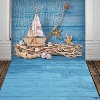 HUAYI blue wood photography backdrops fabric photo studio Fishing nets backdrop stand unique design photo background XT-3610