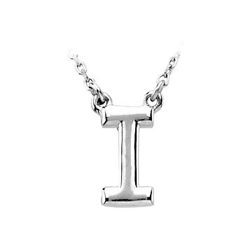 14K White Gold, Kendall Collection, Block Initial I Necklace, 16 Inch
