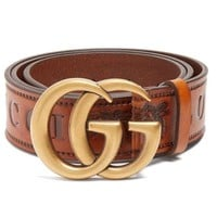 Brand NEW GUCCI Loved tan-brown GG Logo Palm Tree Leather Belt NEW