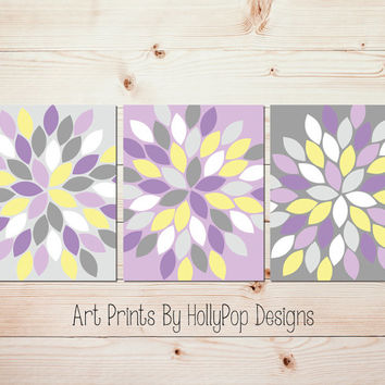 Purple Yellow Gray Wall Art Bedroom Wall Art Bathroom Wall Art Floral Flower Burst Dahlia Pictures Flower Wall Art Set of 3 Prints #1040
