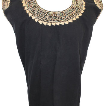 Mexican Peasant Stitched Blouse - Black