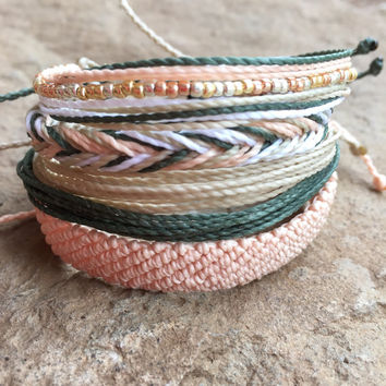 Set of 5 string bracelets, stackable bracelet, wax string bracelet, waterproof bracelet - Mid Summers Eve