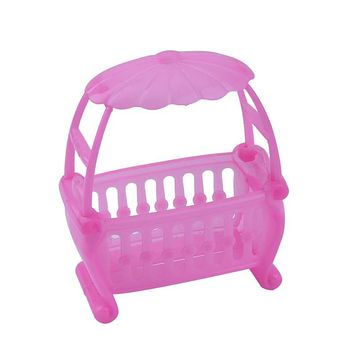 Pink Baby Bed Doll Toy Baby Crib Fittings Cradle Bed for Barbie Girls Doll Furniture Baby Play House Doll Accessories for Girl