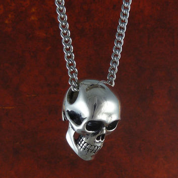 "Human Skull Necklace - Antique Silver Skull Jewelry on 24"" Antique Silver Chain"