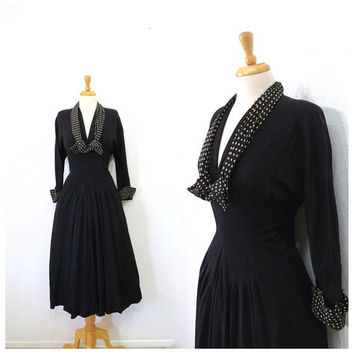 Vintage 1940s dress Black Crepe Polka dots tie 40s dress David Westheim dress