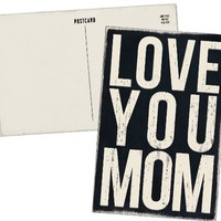 LOVE YOU MOM - Mailable Wooden Greeting Card for Birthdays, Anniversaries, Special Occasions or Just Because