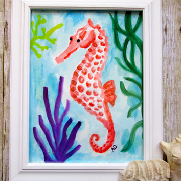 Orange seahorse original 9x12 watercolour painting.Simple painting,minimalist,underwater art,ocean art,nursery,baby boy,baby girl,home decor