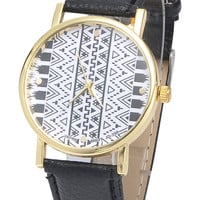 Black Geometric Print Trendy Watch