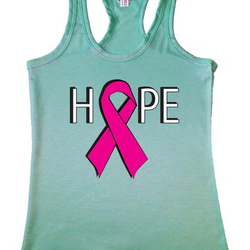 Women's Hope Breast Cancer Awareness Racerback TANK TOP MINT
