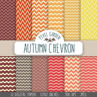 SALE - 50% OFF. Autumn Chevron Digital Paper Pack. Zig Zag Scrapbooking Paper. Vintage Shades Printable Paper.
