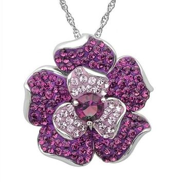 Sterling Silver Flower Pendant Necklace made with Purple Swarovski Crystals