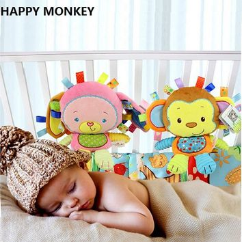 Happy Monkey Baby Rattle Soft Plush Toys Bibi Squeaker Inside Infant Calm Brinquedos Bed Bells Trolley /Crib Hanging Toy KF086