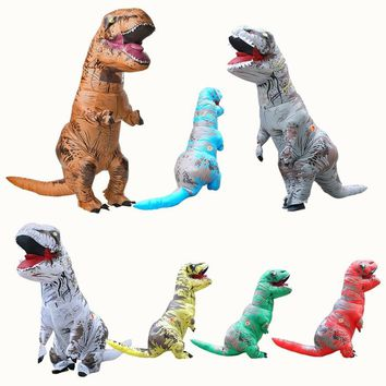 Adult T-REX Inflatable Costume Halloween Cosplay Jurassic Park Dinosaur Jumpsuit Christmas Costume for Women Men