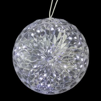"6"" Multi-Color LED Lighted Hanging Christmas Crystal Sphere Ball Outdoor Decoration"