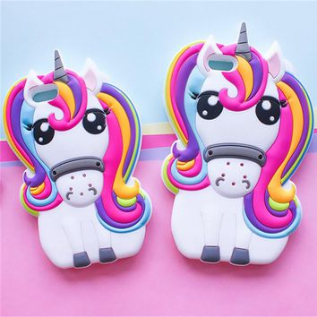 Cute 3D Rainbow Unicorn Horse Cartoon Case For iPhone X Capa Silicon Soft Phone Cases For iPhone 8 7 7Plus 6 6s Plus 5 5S 4 Case