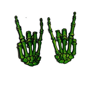 Green Bone Devil Horns Skeleton Hand Embroidered Patch Set by Kreepsville 666