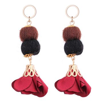 Woolen Yarn Ball Cloth Flower Women Drop Earrings Winter Spring Lady Earrings Christmas Gifts For Her Cheap Costume Accessories