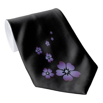 Purple Flowers Tie