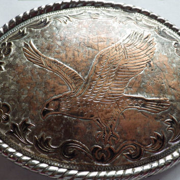 Large Brass Copper Oval Buckle with Eagle Belt Buckle Vintage