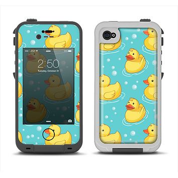 The Cute Rubber Duckees Apple iPhone 4-4s LifeProof Fre Case Skin Set