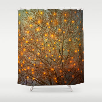 Shower Curtain, Bathroom Curtain. Magical tree, woodland, whimsical, fairy, green curtain teal emerald nature christmas lights