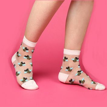 Women New CHAOZHU HOT High Quality Adorable Blush White Cartoon Fruit/Ladybug/Emoji Sheer Ankle Socks Hosiery