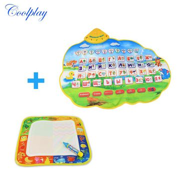 Coolplay 2Pcs/set Water Drawing Mat Painting Board Russian Learning Mat /Russian Child's Play Musical Mat for Baby Kids Girls