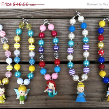 Christmas Sale Deluxe Disney Princess Chunky Necklace Set Ariel/Cinderella/Snow White/Belle/Tinkerbell Chunky Bubblegum Necklace
