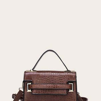 Croc Embossed Satchel Bag