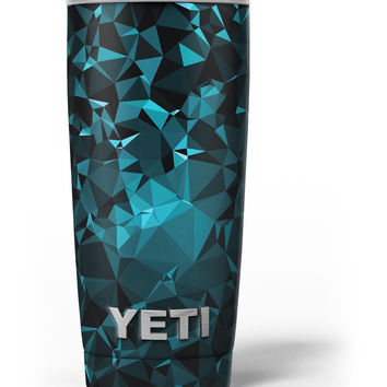 Turquoise and Black Geometric Triangles Yeti Rambler Skin Kit