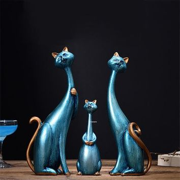 3 Pcs/Set Exquisite Modern Abstract Resin Family Cat Statues 4 Colors
