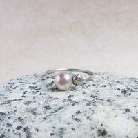 Lavender Pearl Ring, Sterling Silver Nugget, Minimal Ring, June Birthstone, Everyday Jewelry