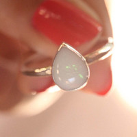 Natural Solid White Teardrop Opal Ring