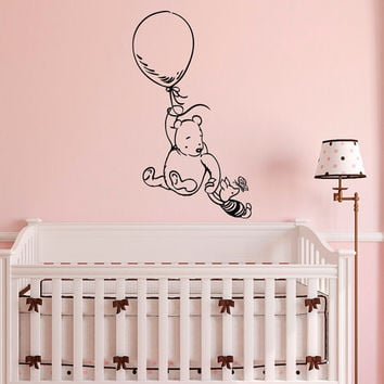 Winnie The Pooh Wall Decal Sticker- Classic Winnie The Pooh Nursery Wall Decals- Pooh Bear Piglet Nursery Baby Kids Room Wall Art Decor Q253