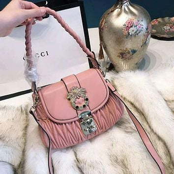 Miu Miu Fashion Women Leather Handbag Tote Shoulder Bag Crossbody Satchel Pink