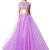 Senior's Sheer Neck Two Piece Long Prom Dress Party Ball Gown Homecoming Dress