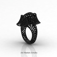 Yerevan - Cathartic Beauty 14K Black Gold Modern Rococo Lace Ring R530-14KBG