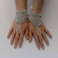 Rhinestone glove bracelet Free rush delivery rhinestone, lace, unique, bridal, glove, ivory, crystal, silver, bling, wedding,