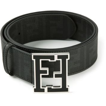 Fendi Logo Reversible Zucca Leather Black New Belt Self Made