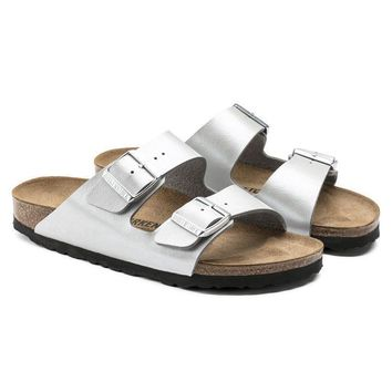 Birkenstock Beach Slippers Arizona Birko-Flor Graceful Silver Sandals